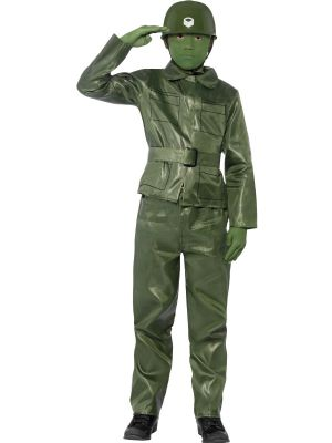 Boy's Fancy Dress | Green Plastic Toy Soldier Costume